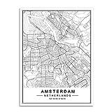 auguce Dipinti Mappa Nordic Minimalista World Famous Città Tela Berlino Oslo Poster Stampa Wall Art Immagini di Soggiorno casa, 20x25 cm Senza Cornice, Amsterdam