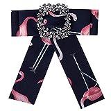 Meigold Flamingo Spilla a Forma di Arco con Diamante e Accessori per Abbigliamento Maschile e Femminile, Spilla a Forma di Collo di Corsetto e Fiore