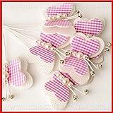 Ingrosso e Risparmio 36 Farfalle in Stoffa Bianche e Rosa con Perline e Strass Decorazioni Originali bomboniere Fai da Te Nascita Battesimo Bambina