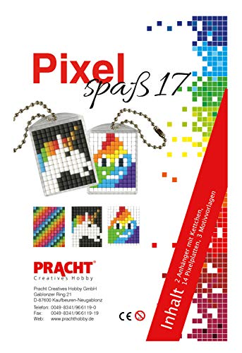 Pracht Creatives Hobby P90082-00505 Pixel Spaß Bastelset 17, für 2 Medaillons, Schlüsselanhänger, für Kinder, Jungen und Mädchen, als kleines Geschenk, Mitgebsel, für den Kindergeburtstag, bunt