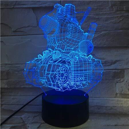 Tianyifengg 3D-LED-7 Color-Control Remoto-luz Nocturna-Tanque de ojiva de Metal lámpara de Entrega rápida con Color para decoración de Vacaciones luz Nocturna