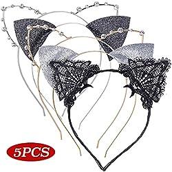 5pcs Serre Tête Oreille de Chat Dentelle Strass Cristal Paillette 5 Styles Bandeau Handband Accessoires Cheveux Femme Fille pour Party Déguisement Cosplay Fête