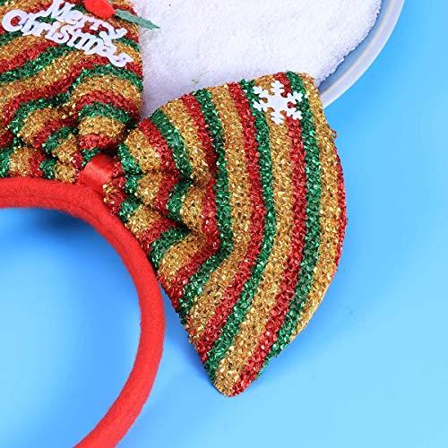 Lurrose Weihnachten Stirnbänder großen Bogen Headwear Kostüm Weihnachtsschmuck Zubehör (golden, rot und grün)