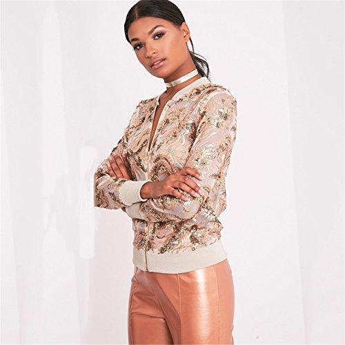 Reißverschluss Zip Vorne Gold Foil Blumen Embroidery Open Spitze Netz Bomberjacke Blouson Jacket Jacke Oberteil Top Beige - 3