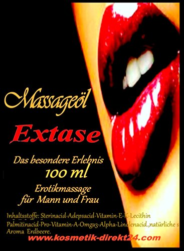 Massageöl Extase Erdbeeraroma essbar für Partnermassage und Sextoys gleitfähig