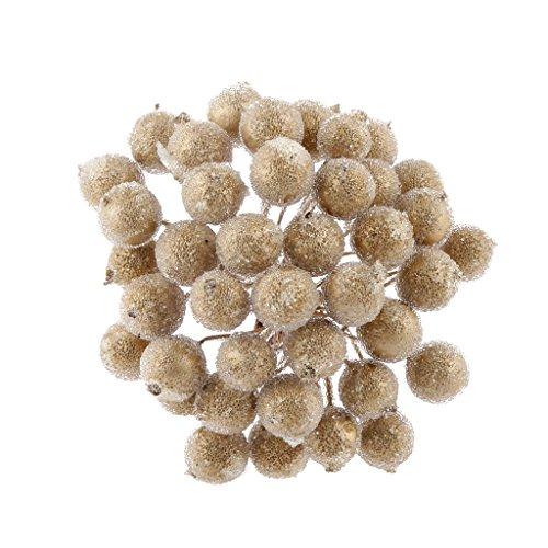 200pz mini natale frutta smerigliato bacca fiore agrifoglio artificiale decorazioni albero casa - oro