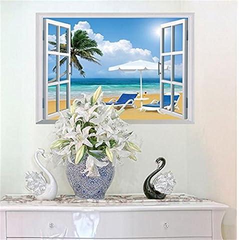 Wmshpeds Paysage de la fenêtre 3D faux mural chaleureux séjour chambre mur à l'arrière-plan créatif autocollants autocollants
