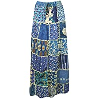Women Patchwork Skirt Blue Vintage Printed Rayon A-Line Skirts S/M