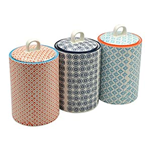 Nicola Spring Patterned Porcelain Tea/Coffee/Sugar Canisters - Set Of 3