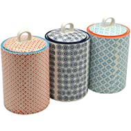 Nicola Spring Patterned Porcelain Tea / Coffee / Sugar Canisters - Set Of 3