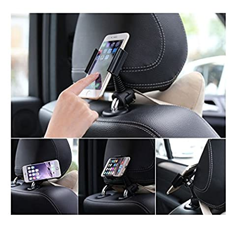 Car Headrest Mount Stand Snap-on Holder, COSCOD 360° Degree Rotating Phone Car Headrest Grip Mount ,Baby Kids Car Backseat Mount for iPhone 7 / 7 Plus / 6S/6/iPod/MP4/Samsung S8/S7/S6/Edge Pixel XL etc.