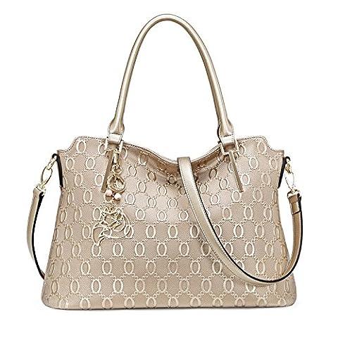 MATAGA Femmes sacs à main en cuir sac à bandoulière Crossbody sac pour dames amovible Ceinture JHFX958073 (Golden)