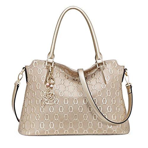 MATAGA Damen Handtaschen Leder Tasche Umhängetasche Crossbody Tasche für Damen Abnehmbare Gürtel JHFX958073 (gold) Golden
