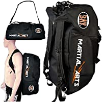 "BAY® schwarz orange Sporttasche ""Martial Arts"" im Rucksack Syte shoulder bag Kickboxen Kick-Boxen, Kampfsport Budo MMA Thaiboxen Muay Thai Tasche Trainingstasche Kickboxtasche Bag Rucksack"