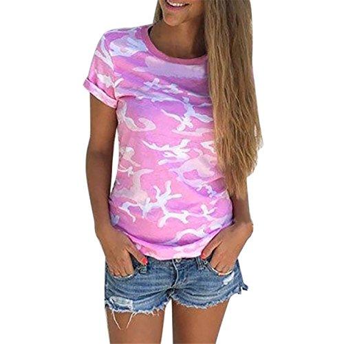LHWY Damen Lässige Camouflage Kurzarm Sommer T-shirt Tops Shirt Bluse (S, Hot Pink) (Stretch-popeline-hemd Mädchen)
