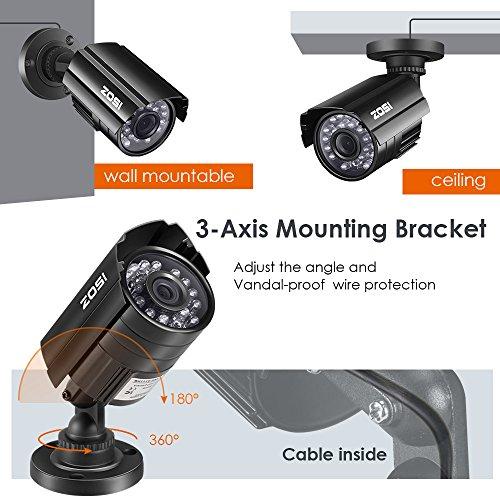a192e5e288bd1 ZOSI 800TVL 24 IR-LEDs Night Vision CCTV Surveillance Video Camera ...