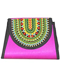 Art Godaam Hand Stiched Cotton Embroidery Clutch - B07CNX3LQB