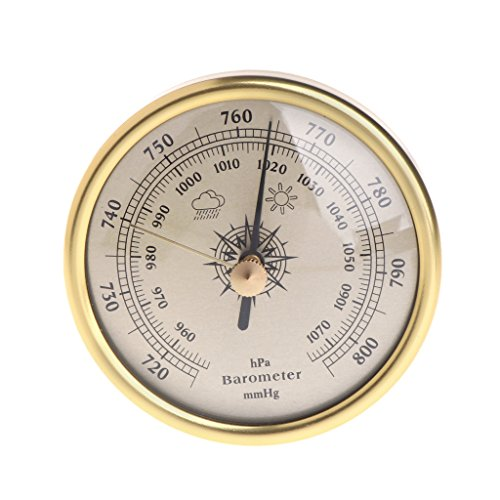 Exing Barometer,72mm Wandbehang Barometer 1070hPa Gold Farbe Runde Dial Air Wetterstation