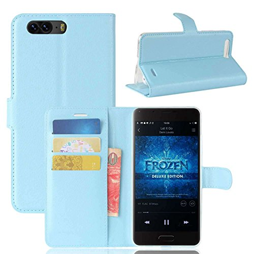 Tasche für Blackview P6 Hülle, Ycloud PU Kunstleder Ledertasche Flip Cover Wallet Case Handyhülle mit Stand Function Credit Card Slots Bookstyle Purse Design blau