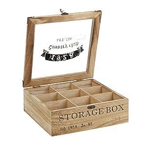 ToCi Teebox Holz Natur mit 9 Fächern | Quadratische Teekiste Teedose Teebeutel Box Aufbewahrung | 24 x 24 x 8,5 cm (LxBxH) |