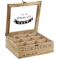 """ToCi Teebox Holz Natur mit 9 Fächern   Quadratische Teekiste Teedose Teebeutel Box Aufbewahrung   24 x 24 x 8,5 cm (LxBxH)   """"Storage Box"""" im Retro Look"""