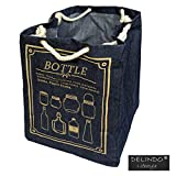 Aufbewahrungstasche BOTTLE / Recyclingtasche für Altglas - Flaschen im toolen Jeans Look / 47x34x34 cm / mit praktischem Kordelzug