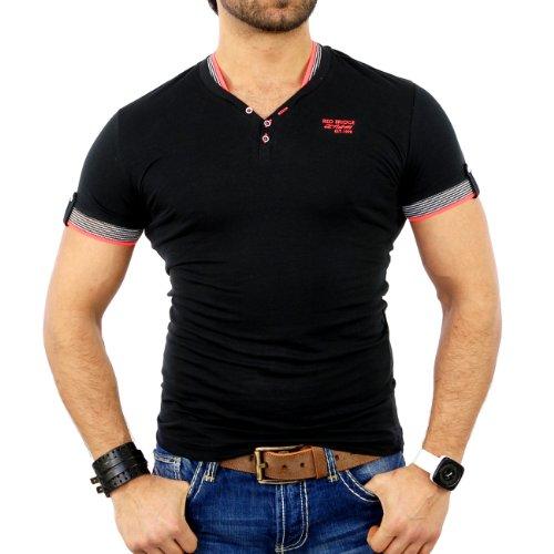 Redbridge Herren V-Neck Kontrast T-Shirt RB-1601 Schwarz