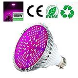 Pawaca 100W LED Pflanzenlampe Vollspektrum Pflanzen Licht Lampe, E27 Grow LED Pflanzenleuchte, Sonnenlicht in Gewächshäusern
