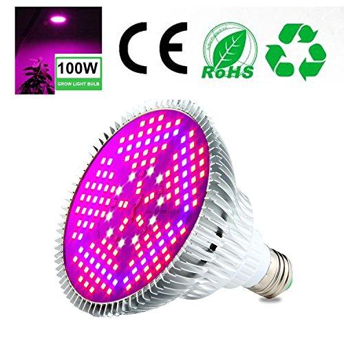 Aolvo LED Grow lampadina 100W, Full Spectrum pianta lampada per piante da idroponica serra giardinaggio verdure e fiore, 150PCS 2835chips E27Grow Light AC 85~ 265V