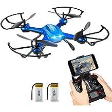 NOVEDAD - Hover Drone, Potensic F181WH AMPLIADO Wifi FPV 2.4GHz 4CH 6-Axis Gyro RC Quadcopter Drone con Cámara HD 2 Megapíxeles, Función 3D Flips - Azul