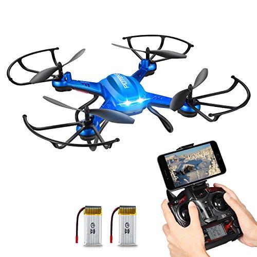 Preisvergleich Produktbild Quadrocopter Potensic Drohne Wifi 2.4GHz 6-Achsen-Gyro 2 MP HD Kamera FPV Monitor Video Live 3D Flip Funktion-blau