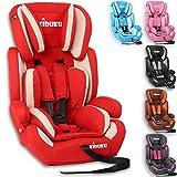 KIDUKU Autokindersitz Kindersitz Kinderautositz, Sitzschale, universal, zugelassen nach ECE R44/04, in 6 verschiedenen Farben, 9 kg - 36 kg 1-12 Jahre, Gruppe 1/2 / 3 (Rot/Weiß)