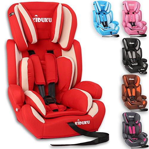 KIDUKU® Autokindersitz Kindersitz Kinderautositz, Sitzschale, universal, zugelassen nach ECE R44/04, in 6 verschiedenen Farben, 9 kg - 36 kg 1 - 12 Jahre, Gruppe 1 / 2 / 3 (Rot/Weiß)