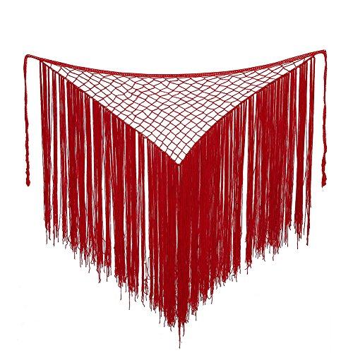 Kostüm Anmutige Mädchen - VGEBY Bauchtanz Tanzanzug Kostüm Hüfttuch Weihnachtsfeier Kostüm Taille Schal mit Quaste(Red)