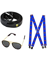 Combo For Mens And Boys Suspenders -1, Belt Black -1, And Sunglases-1 ) (Pack Of 3) (Color And Design Depends...