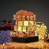 Greenclick Salz-Lampe Natürliche Himalaya Kristall Rock Salz Lampen Einstellbare Cube Nacht Licht auf Holzsockel mit Dimmer Steuerung für Air Purifying Schlafzimmer Beleuchtung
