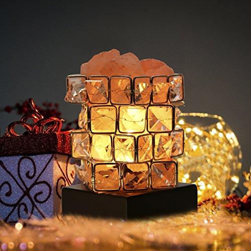 Greenclick Salz-Lampe Natürliche Himalaya Kristall Rock Salz Lampen Einstellbare Cube Nacht Licht auf Holzsockel mit Dimmer Steuerung für Air Purifying Schlafzimmer Beleuchtung (Salz-kristall-lampe Natürliche)