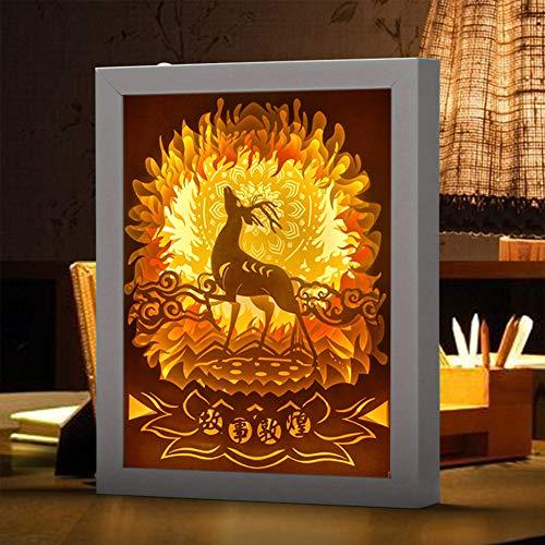 EFGS 3D-Papier Skulptur Lampe, Silhouette Geschnitzt Nacht Hell Warme Romantische Atmosphäre Weihnachten, White