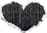 numeri Matrix nero / bianco a forma di cuore nel formato sguardo, parete o adesivo porta 3D: 92x64.5cm, autoadesivi della parete, Stickers murali, Wanddekoratio
