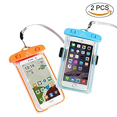 Polar Fire Waterproof Phone Case with Arm Belt, 2-Pack Durable Universal Waterproof Cellphone Bag Pouch