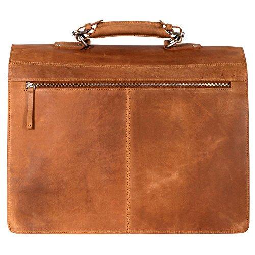 manbefair FAIR TRADE Öko Leder Aktentasche Charles Messenger Laptoptasche Umhängetasche Lehrertasche (Antik Braun geölt) 42x34x20 cm (BxHxT) Camel gewachst