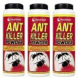 PestShield - Polvo insecticida para hormigas, ideal para interiores y exteriores, paquete de 3, contenido 240 g c/u