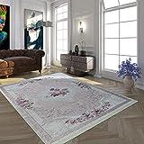 Paco Home Moderno Tappeto con Motivo Vintage Stampato Design Trendy Rosa Crema, Dimensione:80x150 cm