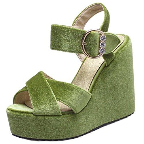 TAOFFEN Femmes Mode Peep Toe Sandales Compenses Talons Hauts Plateforme Sangle De Cheville Chaussures Vert Clair