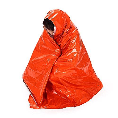 Shsyue® Couverture de Survie d'urgence Epaississement Sac de Couchage Sauvetage Militaire Portable Waterproof Orange