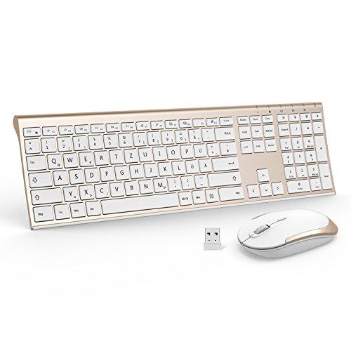 Wireless Tastatur mit Maus Combo, Jelly Comb 2,4Ghz Ultra Dünne Drahtlose Tastatur und Maus Wiederaufladbar Tastatur(QWERTZ, Deutsches Layout) für Laptop PC und Smart TV (Gold + Weiß)