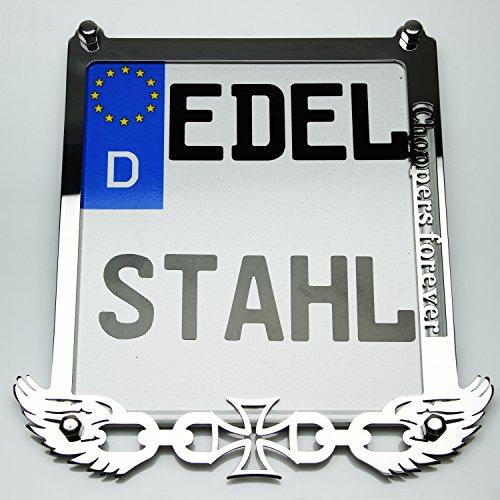 Exklusive Motorrad Kennzeichenhalter Edelstahl Hochglanz poliert Chopper for Ever