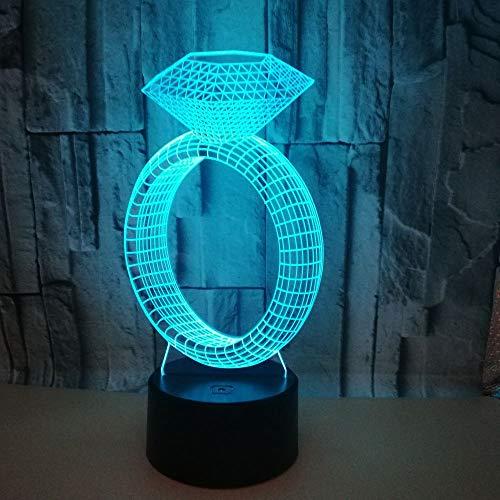 Geschenke Diamant Ring Kreative 3D Nachtlicht Geschenk Spot Led Tischlampe Großhandel Kinderzimmer Schreibtischlampe