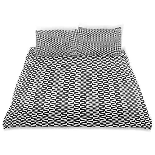 Soefipok Dekor Bettbezug Set, Zwei getönten Dreiecken bilden Quadrate zeitgenössischen Kontrast abstraktes Motiv eine dekorative 3-TLG. Bettwäsche mit Kissenbezügen -