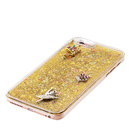 Coque iPhone 6 Plus Flüssigem,Housse Cas Etui pour iPhone 6s Plus,Ekakashop Creative 3D Dual Layer Transparente Clair Cristal Clear Brillant étui Bling Shiny Sterne Scintillante Poudre et Paillettes L Ange D'or
